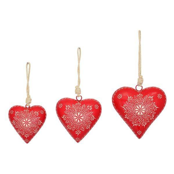 coeur métal rouge peint main