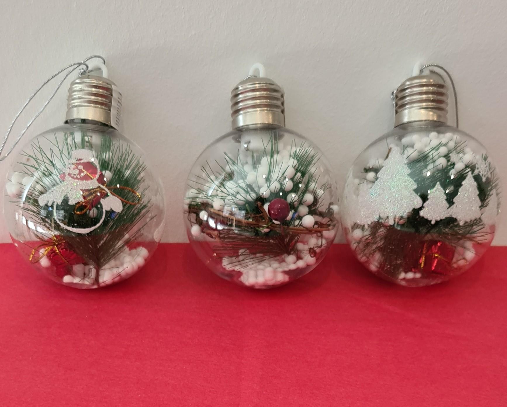 Lot de 24 boules de Noël 9cm ( 3 modèles assortis)
