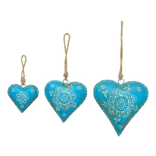 """lot de coeurs """"métal bleu peint main"""""""