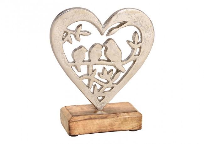 Décoration coeur avec oiseau support bois( par 6)