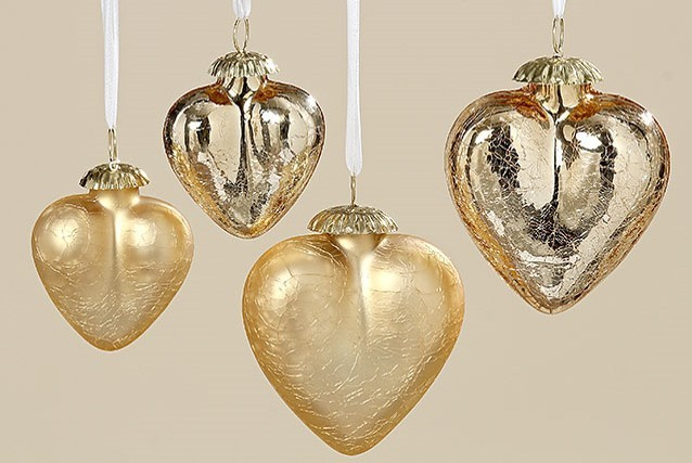 Lot de 5 coeurs en verre couleur or