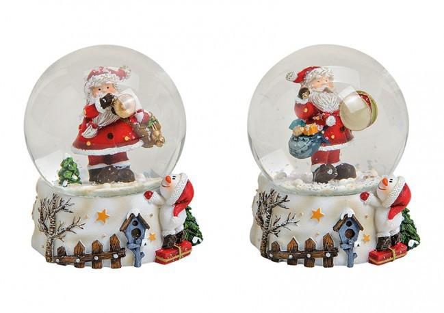 Lot de 8 boules de neiges Père Noël 2 modèles assortis