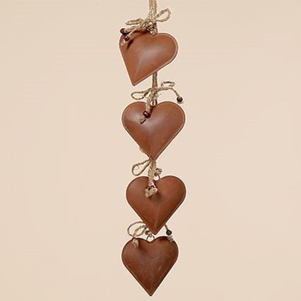 Lot de 8 guirlandes coeur en métal couleur rouille (55cm)